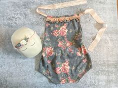 Sitter Girl Prop Outfit - 9-12 month Gray Peach Floral Romper Headband Bundle - Photo Prop - READY TO SHIP by wrenandwillowdesigns on Etsy
