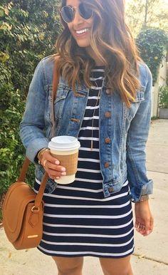 #Summer #Outfits / Striped Summer Dress + Denim Jacket