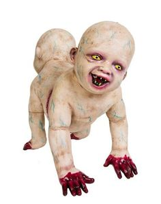 New for 2014! Doug & Phil DeGrave exclusively at Spirit Halloween-Beware of the Doug & Phil DeGrave Zombie Baby prop because this devilish duo is joined at the hip! These two inseparable zombie babies feature blood-covered hands, yellow eyes and wicked teeth. Bring this creepy crawler home for $39.99!