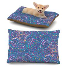 "Miranda Mol ""Kaleidoscopic Blue"" Blue Geometric Dog Bed"