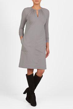 I <3 this Keyhole neck cotton knit shift dress from eShakti