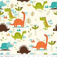 Tissu Dinosaur Main fond écru x 30cm