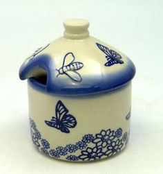 Honey Container (Butterfly Garden) High-Quality Polish Stoneware from the largest supplier in the western United States - The Polish Pottery Outlet in Englewood, CO