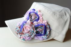 Women's Cadet Hat Purple Shabby Chic Hat Cadet by Ebowsboutique