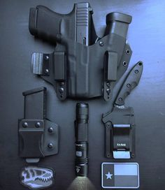 from - T-Rex Arms Sidecar Appendix Rig for a Glock 30 with additional magazine sidecar also from T-Rex Arms, a Kabar Knives' TDI, and Fenix small rechargeable light. Rifles, T Rex Arms, Edc Tactical, Kydex Holster, Tac Gear, Edc Everyday Carry, Cool Gear, Guns And Ammo, Survival Gear