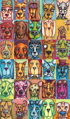 And for everyone a dog - by Cindy Dauer: dog art projects - cards and posters Art Pop, Painting & Drawing, Arte Elemental, Ecole Art, School Art Projects, Dog Paintings, Art Classroom, Art Club, Whimsical Art