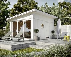 Guest house from JABO / Attefallshus Image from: Trendenser. Wow, I love this, one of the nicest garden rooms I've seen. Outdoor Areas, Outdoor Rooms, Outdoor Living, Small Summer House, Backyard, Patio, Cottage Homes, Interior And Exterior, Interior Design