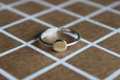 gold circle ring/circle stacker ring/adjustable gold circle ring/adjustable gold silver ring/brass and silver ring/gold stacking ring/ by AHJewellery1 on Etsy