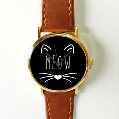 Meow Cat  Watch , Vintage Style Leather Watch, Women Watches, Unisex Watch, Boyfriend Watch, Black White