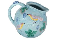 Majolica Pitcher w/ Bird Motif Early 20th C. Probably Zell.