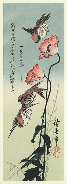sparrows & poppies / hiroshige / 1797 - 1858