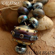 KALYPSO  - Hollow Lampwork Focal Bead with Coordinating Beads by HavanaBeads.etsy.com