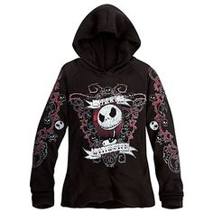 Jack Skellington Thermal Hoodie for Women - Disney Store -gift idea for Ashley $39.95