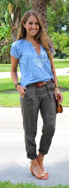 The blouse caught my eye first, but I dig it w the cropped pants and patterned belt
