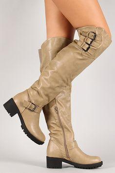 Khaki Triple Buckle Thigh High Boot