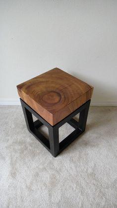 Rustic Modern Slab Wood End Side Table by NAVINliving on Etsy, $200.00