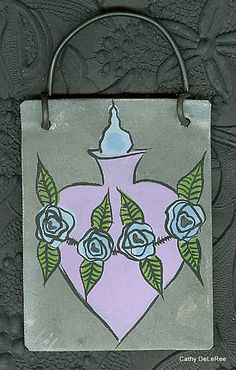 Immaculate Heart   Folk Art  Tin Salvage MilagrO  by CathyDeLeRee, $12.00