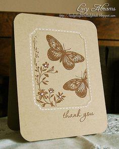 handmade card ... monochromatic browns ... kraft base ... butterflies ... stiching lines ... lovely ...