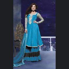 Chic Cyan Blue Salwar Kameez. @ $111.93 <3 Buy Now - http://www.gravity-fashion.com/9280-chic-cyan-blue-salwar-kameez.html <3