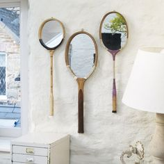 Cool vintage tennis racket mirrors......Cute idea for your room @Desiree Lenick-Pena. We have some old rackets at the store.
