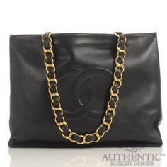 Chanel Carry On Large Open Tote Black Smooth Leather Stitches.  www.authenticluxurygoods.com   Discounted CHANEL bag perfect for laptop and just Amazing-ness all around!!!!