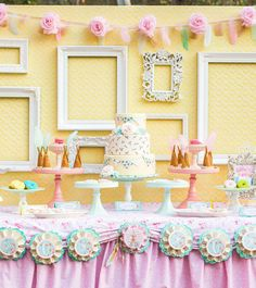 """Feathers, ruffles, lace, vintage florals, and pastels... these are the makings of one seriously dreamy, girlie celebration... Gorgeous Vintage & Floral """"Shabby Pow-Wow"""" Party by Amy J. Birlew of Dimply Sweet"""