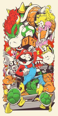 Super Mario - 7-color screenprint by Joshua Budich
