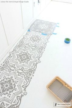 How to Prep and Paint a Concrete Floor with DIY Tile Stencils - Royal Design Studio Stencils Painted in Bedroom Makeover by The Crowned Goat Stenciled Concrete Floor, Diy Concrete Patio, Painted Concrete Floors, Painting Concrete, Concrete Countertops, Concrete Lamp, Diy Patio, Concrete Floors In House, Painted Tiles