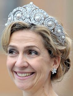 Cartier Diamond and Pearl Tiara worn by HRH Infanta Cristina of Spain, Duchess of Palma de Mallorca