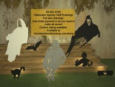 05-WC-0706 - Spooky Stuff Halloween Drawings - One Sheet Plywood Makes All 7 #diy #woodcraftpatterns