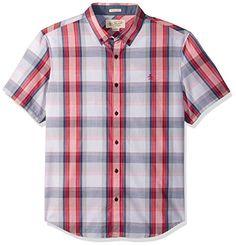 b29afe5d1ca Original Penguin Men's Short Sleeve Slub Plaid Button Down Collar Shirt,  Raspberry, X-