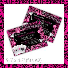 Printable Birthday Party Invitation . Casino Crush ~ $8.00 ~ gamble, casino, invite, dice, cards, luck, martini, girls night out, damask, chic, girly, diy, do it yourself, woman, lady, ladys night, fun, bachelorette, drink ~ https://www.etsy.com/listing/91183810/casino-party-invitations-printable