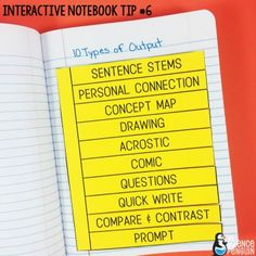 Interactive Science Notebook Tips: Output