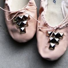 Studded Pink Leather Ballet Flats Leather ballet flats, worn once! Super cute and one of a kind. All leather ballet style shoes from The Gap, orig $90. I added the studs to them myself, these shoes are one of a kind and so cute!! GAP Shoes Flats & Loafers