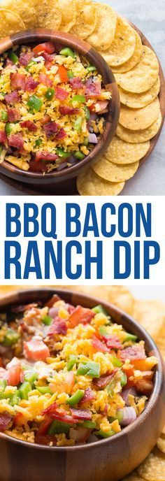 This make-ahead BBQ BACON RANCH DIP is perfect for your next barbecue and combined with bacon, cream cheese, shredded cheese, it's insanely delicious!