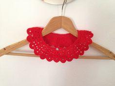 Red crochet collar peter pan collar lace collar by NesrinArt, $29.00