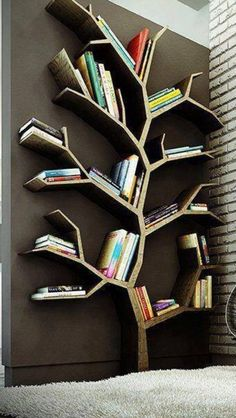 new ideas kids room walls shelves tree bookshelf Tree Bookshelf, Unique Bookshelves, Tree Shelf, Bookshelf Ideas, Bookshelf Design, Tree Book Shelves, Bookshelves For Kids, Handmade Bookshelves, Diy Bookshelf Wall