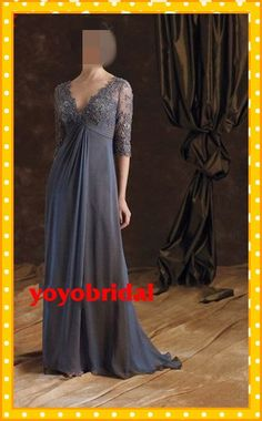 Sexy V neck Long Lace Sleeve Empire Chiffon Ruffles Mother of the bride Dresses Dress gown with Sleeve For Barbara on Etsy, $130.00