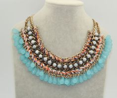 New Arrival 2014 Hot Sale Multi Layer Neon Ribbon Wrapped BIB Woven Necklace Acrylic Statement Necklaces free shipping $9,02