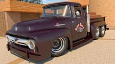 Custom Desktop Picture rendered in Cinema Physical Render Postwork done with Photoshop Car Materials by OsTin available @ [link] 1956 Ford 1956 Ford Truck, 1956 Ford F100, Old Ford Trucks, Hot Rod Trucks, Cool Trucks, Classic Trucks, Classic Cars, Old Pickup, Old Fords