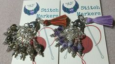 Set of 8 stitch markers for knitters!  They come with a handy clasp to keep them together when not in use.