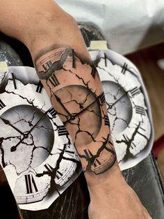 Clock Tattoo Design, Tattoo Designs, Broken Clock Tattoo, Tatting, Drawings, Poster, Ideas, Tatoo, Tatuajes