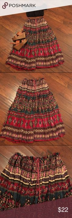 Vintage hippy maxi skirt! Get ready for festival season with this cute light fabric skirt! This skirt has a drawstring with little bells at the ends and make the sweetest little jingle when you walk. Because this is drawstring it will fit XS-M/L. It's a beautiful flowing skirt and in great condition! Skirts Maxi