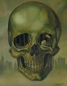 """Incarceration / Oil on canvas) - David Van Gough "" Dark Fantasy, Fantasy Art, Crane, Skull Painting, Painting Art, Art Paintings, Danse Macabre, Gothic Art, Skull And Bones"