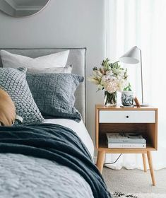 How to design your home: 60 best decoration ideas - Master Bedroom Design & Guest Bedroom Design - Bedrooms Neutral Bedroom Decor, Modern Bedroom Decor, Blue Bedroom, Cozy Bedroom, Bedroom Ideas, Bedroom Furniture, Linen Bedroom, Master Bedroom, Bedroom Inspo