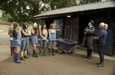 """I WANNA MARRY """"HARRY"""":  Kingsley (guest star Paul Leonard, second from R) tells the ladies (L-R:  Meghan, Anna Lisa, Kimberly and Rose) who are not going horseback riding with """"Sir"""" that they must work in the barn in the """"My 'Brother' William"""" episode of I WANNA MARRY """"HARRY""""  airing Tuesday, June 10. (Chris Raphael photo copyright 2014 Fox Broadcasting)"""