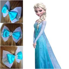 Handmade Hair Bow. Elsa from Disneys Frozen. by HairBowObsessions