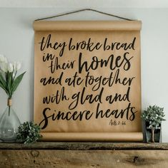 Add a farmhouse flare to any given wall with these large, wide printed calligraphy scrolls. A perfect . Farmhouse Remodel, Farmhouse Style Kitchen, Modern Farmhouse Kitchens, Rustic Farmhouse, Rustic Kitchen, Vintage Kitchen, Easy Home Decor, Home Decor Bedroom, Butcher Paper
