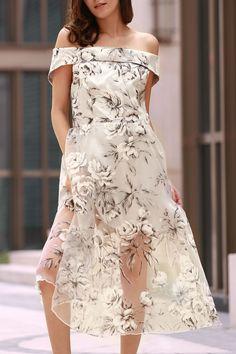 Off The Shoulder Floral Print Boat Neck Dress