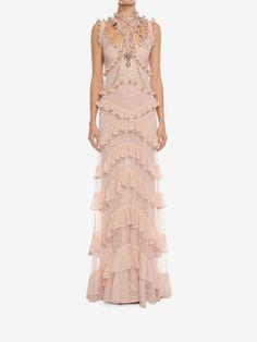 Sleeveless Harness Ruffle Long Dress